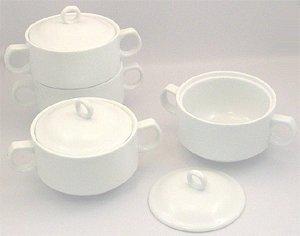 Maison Plus Onion Soup Bowl Set - Covered - White