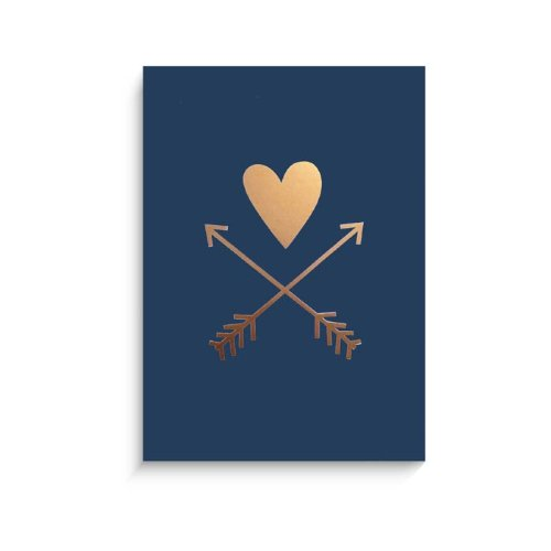 "Lucy Darling Gold Heart and Arrows Wall Decor, Navy Print, 5"" x 7"" - 1"