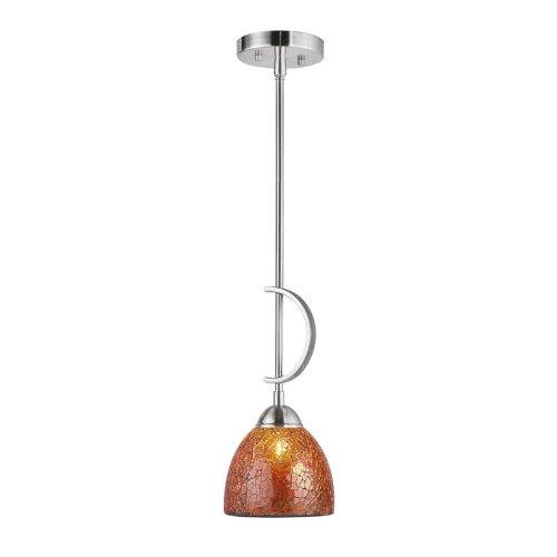 Woodbridge Lighting 13023STN-M21AMB 6-Inch by 45-1/4-Inch North Bay 1-Light Mini-Pendant, Satin Nickel