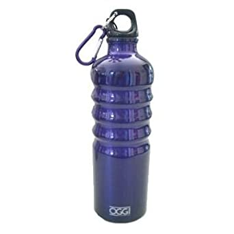 Oggi Lustre Aluminum Sport Water Bottle with Screw Top Loop Cap & Caribiner Clip-26 oz (Blueberry Blue)