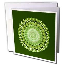 Jaclinart Fantasy Flower Floral Mandala Striped Daisy Olive and sage floral mandala on khaki background Greeting Cards 6 Greeting Cards with envelopes