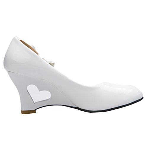 XMWEALTHY Women's Wedding Party Dress High Heel Pump with Bow White US 8