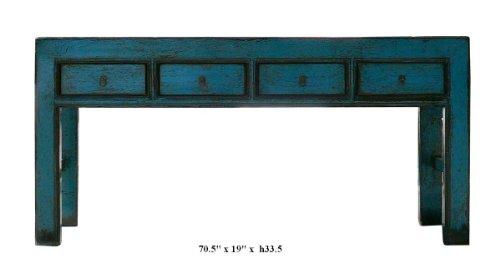 Discover Rustic Turquoise Color Solid Wood Long Altar Table Desk Af824