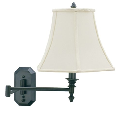 House Of Troy Ws-708-Ob 16-Inch Swing Arm Wall Lamp, Oil Rubbed Bronze With Off-White Softback Shade