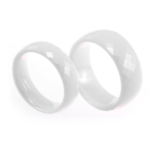 JewelryWe 2013 New Fashion Mens Ladies Lovers White Faceted Ceramic Rings for Wedding/Engagement/Promise/Eternity