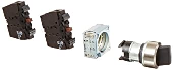 Siemens 3SB36 08-2SA11 Heavy Duty Selector Switch, 3 Switch Positions, Maintained Operation, I-O-II Switching Sequence, 2 x 50 Degree Operating Angle, 1 NO + 1 NC, 1 NO + 1 NC