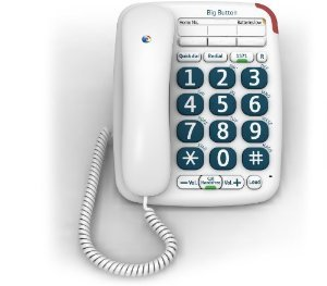 BT Corded Analogue Telephone - BT Big Button 200 (Mk II) Telephone - White 10 no directory hands free message waiting indicator ring controller image