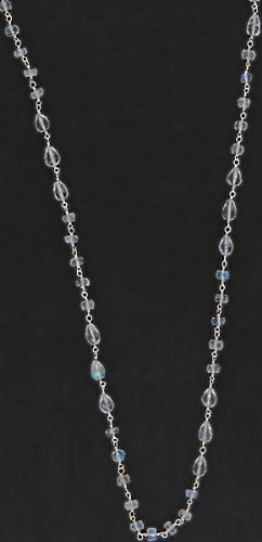 Faceted Rainbow Moonstone Beaded Necklace with Fish Lock - Sterling Silver