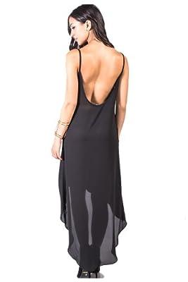 G2 Chic Women's Backless Strappy High-Low Chiffon Long Maxi Dress