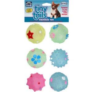Vo-Toys Vinyl Glow In The Dark Puppy Balls 6 Pack Dog Toy