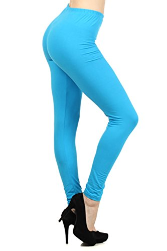 Always Women's Solid Color Full Length High Waist Leggings Turquoise One Size (Turquoise Pants compare prices)