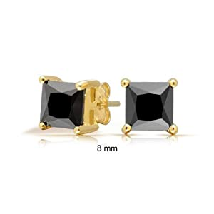 Bling Jewelry Onyx Color Square CZ Vermeil Studs 925 Silver 8mm