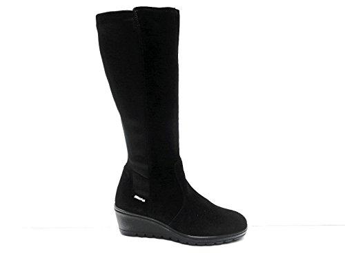 Enval linea comoda stivali da donna in camoscio Nero gambale elasticizzato zeppa cm. 5,n. 38