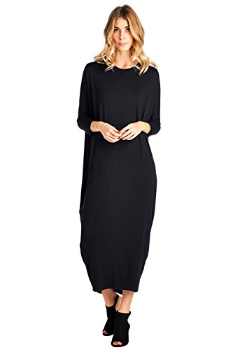 12-ami-solid-long-sleeve-cover-up-maxi-dress-black-x-large