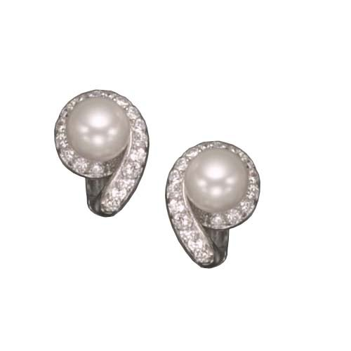 C.Z. AND PEAR RHODIUM PLATED (.925) STERLING SILVER EARRINGS
