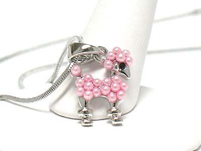 Adorable Pink Faux Pearl Toy Poodle Charm Necklace Silver Tone