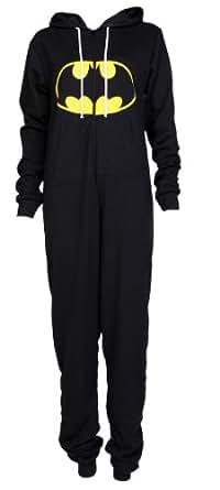 New Womens Mens Unisex Superman Batman Print Ladies Hoody Jumpsuit Onesie (S/M-UK8/10, Batman Black)