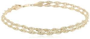 Duragold 14k Yellow Gold Double Twist Rope Bracelet, 7.5