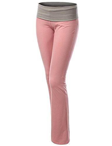 Doublju Women Comfortable Wide Waist Band Fitted Yoga Pants I_GRAY,L
