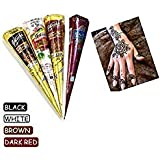 India Painting Tattoo Paste Cone,4 Tube Black White Red Brown Paste Cone Temporary Tattoo Kit Indian Body Art Painting Drawing with free Stencil (Tamaño: Mix Cone)