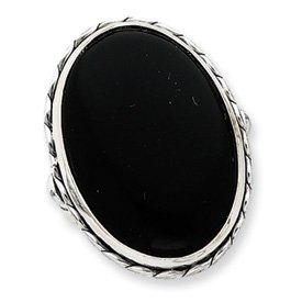 Genuine IceCarats Designer Jewelry Gift Sterling Silver Antiqued Oval Black Onyx Ring Size 7.00