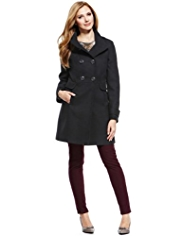M&S Collection Double Breasted Funnel Neck Coat