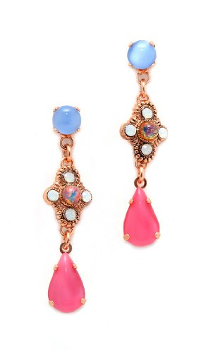 24K Rose Gold Plated Gorgeous Dangle Earrings from 'Flow' Collection by Amaro Jewelry Studio Set with Amazonite, Blue Lace Agate, Mother of Pearl, Pink Mussel Shell, Pearl, Rose Quartz, Variscite and Swarovski Crystals