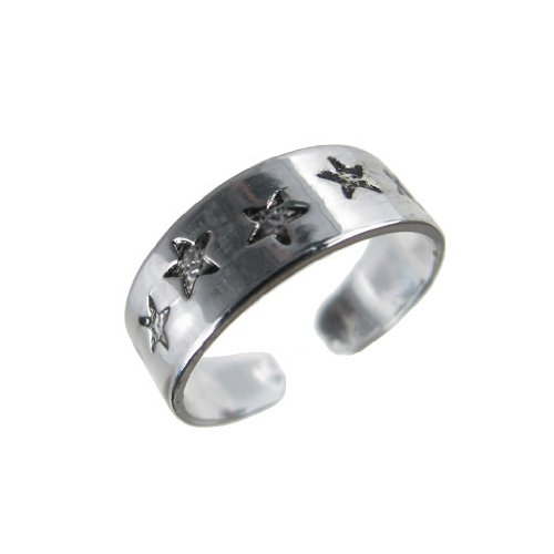 Jewellery of Lords 5.5mm Wide Antique Silver Plated Stars Night Sky Astronomy Adjustable Toe Ring Beach Ware Rings