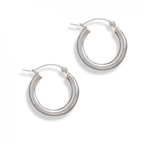 MMA Silver - 3mm x 18mm Hoop Earrings with Click Closure