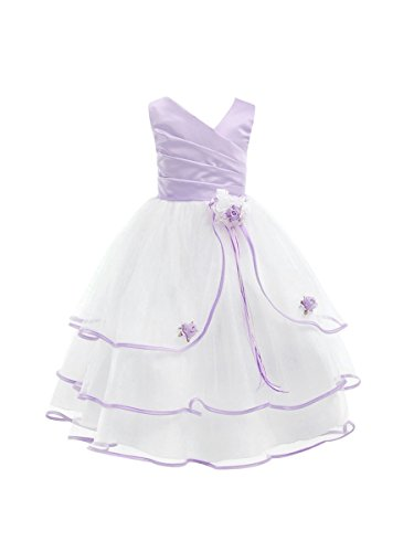 Dressforless Three-Tier Tulle Skirt Flower Girl Dress, Ivorylaverder, 6