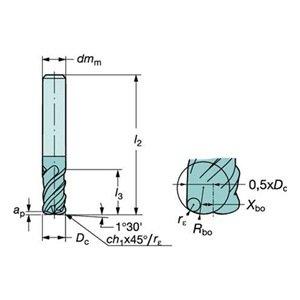 0.1875 Cutting Diameter AlTiN Monolayer Finish 2 Overall Length 0.1875 Shank Diameter Melin Tool AMG-DP Carbide Drill Mill 30 Deg Point Angle 2 Flutes