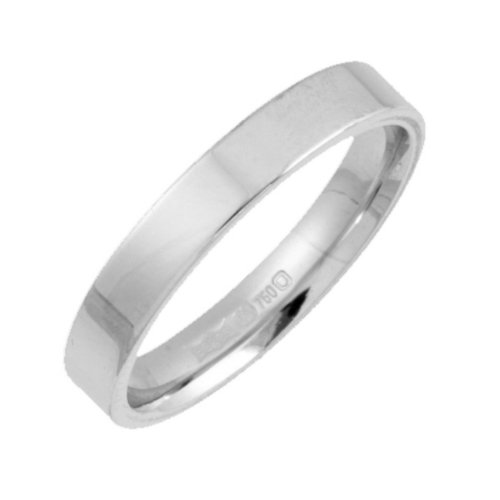 Wedding Ring, 18 Carat White Gold Light Weight Flat Court Shape, 3mm Band Width