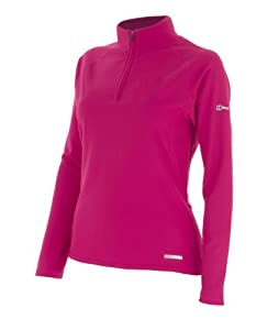 Berghaus  Womens Technical T  Long  Sleeve Zip Neck  Barberry Pink - 16