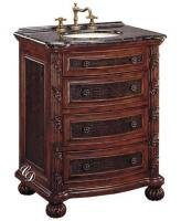 Bathroom Vanity 29 Inch with Top and Sink: 29 Inch Single Sink Bathroom Vanity Cabinet with Embossed Inlays: 29 Inch Single Sink Bathroom Vanity with Top with Antique Brown Finish