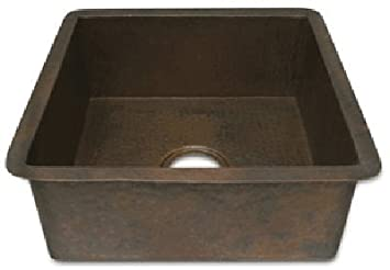 18 inch Large Copper Kitchen Prep Sink with Square Corners