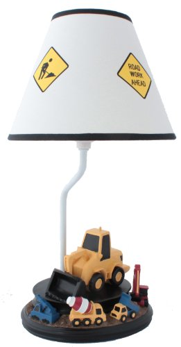 Construction Table Lamp with Matching Nightlight - Fantastic Hand Painted Details (Dump Truck Lamp compare prices)