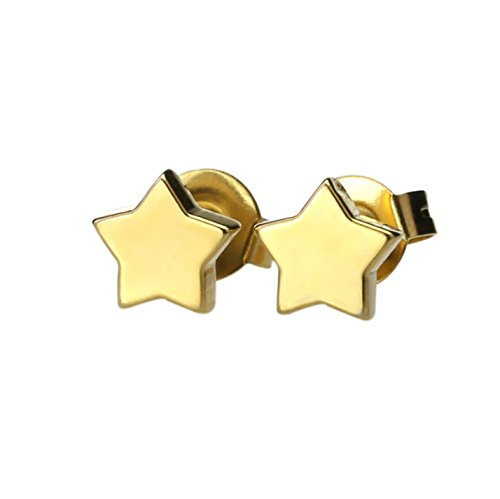 Jiatai® A Pair of Stainless Steel Fashion Earring Studs with Lovely design - Young and Cool (Star    Gloden)