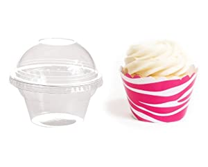 Dress My Cupcake Favor Dome Containers with Wrappers DIY Bundle, Wild Hot Pink Zebra Print, Set of 25