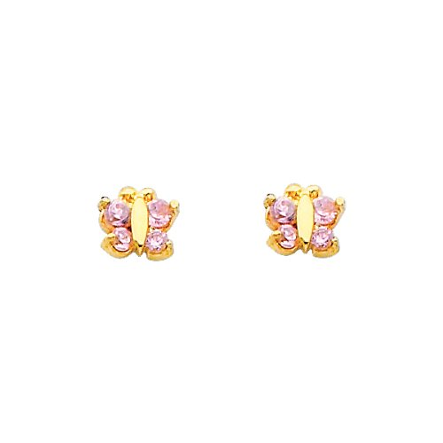 14K Yellow Gold Light Pink Butterfly CZ Stud Earrings for Children and Baby