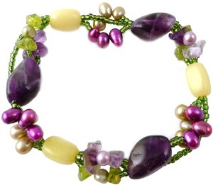 Amethyst and Peridot Bracelet, Handmade, Fairtrade with Freshwater Pearls