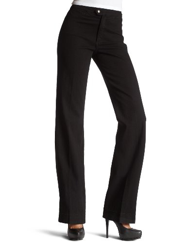 NYDJ Women's Wide Leg Trouser Jean, Black, 6