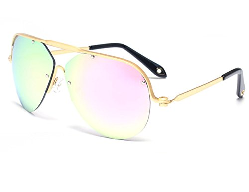 Konalla Aviator Sunglasses Half Metal Frame Oversized Lens ...