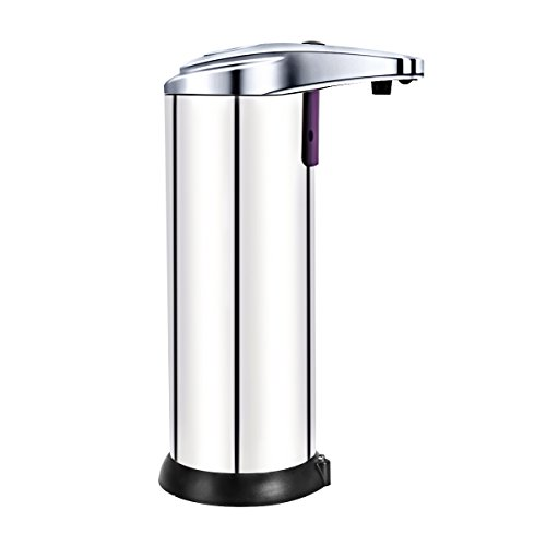 Automatic Touchless Hand Wash Sanitizer Dispenser - Smart Fashion Design Sensor Pump for Bathroom Kitchen Handy Washing Soap Cleaner Container - Chrome Silver (chrome silver) (Touchless Sensor Pump compare prices)