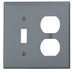 Leviton 80705-GY 2-Gang 1-Toggle 1-Duplex Device Combination Wallplate, Standard Size, Thermoplastic Nylon, Device Mount, Gray