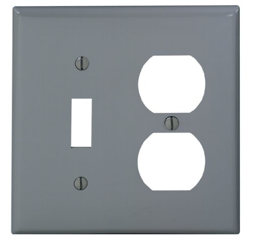 Leviton 80705-GY 2-Gang 1-Toggle 1-Duplex Device Combination Wallplate, Standard Size, Thermoplastic Nylon, Device Mount, Gray (Leviton Door Switch compare prices)