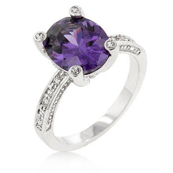 White Gold Rhodium Bonded Anniversary Ring with an Oval Cut Amethyst CZ Center Stone Accented by Clear CZ in Silvertone