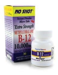 No Shot Methylcobalamin B12 10,000 Mcg Superior Source 30 Sublingual Tablet