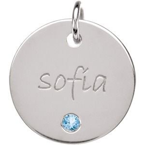 Sterling Silver February 14.29Mm Disc Polished Mom Mother Posh Mommy® Engravable Medium Disc front-180366