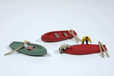 ROW BOATS WITH OARS (3) - JL INNOVATIVE DESIGN HO SCALE MODEL TRAIN ACCESSORIES 492