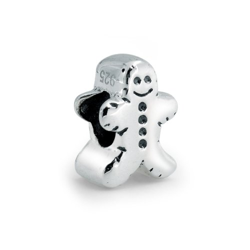 Bling Jewelry 925 Sterling Silver Christmas Gingerbread Man Bead Fits Pandora